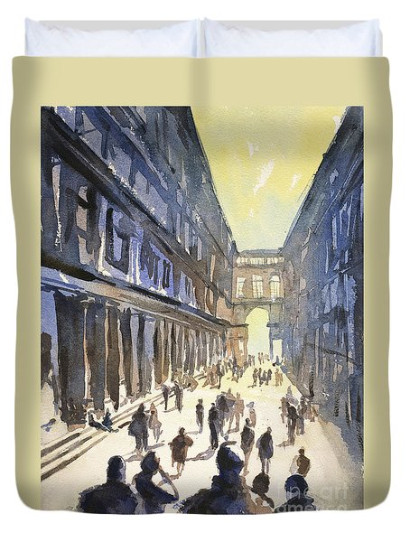 Duvet Cover featuring the painting Bologna Sunset- Italy by Ryan Fox