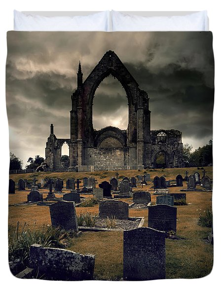 Bolton Abbey In The Stormy Weather Duvet Cover by Jaroslaw Blaminsky