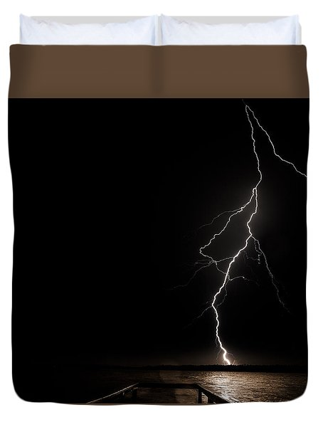 Duvet Cover featuring the photograph Bolts On Lake Houston by Allen Biedrzycki