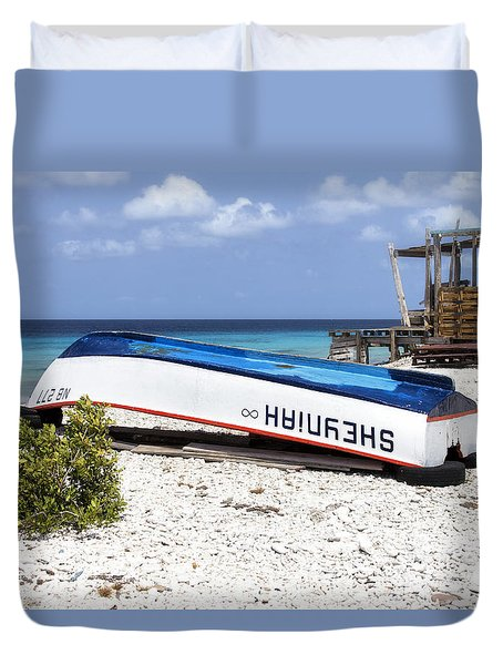 Duvet Cover featuring the photograph Bonaire. The Old Boat by Yelena Rozov