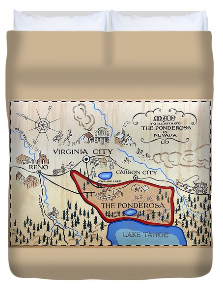 Bonanza Series Ponderosa Map  1959 Duvet Cover