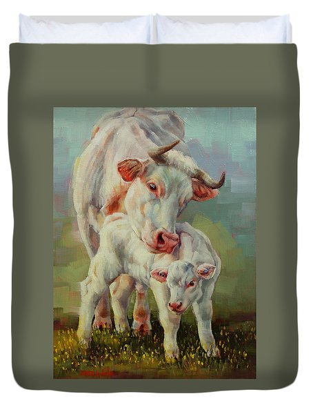Bonded Cow And Calf Duvet Cover