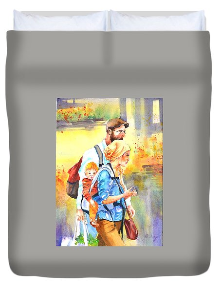 Bonding #5 Duvet Cover by Betty M M Wong