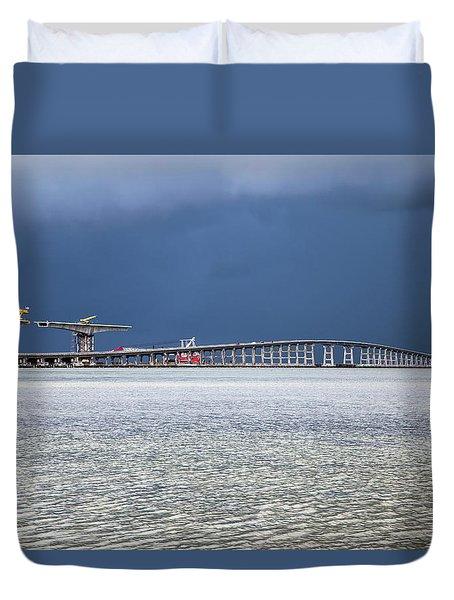 Duvet Cover featuring the photograph Bonner Bridge Replacement by Alan Raasch