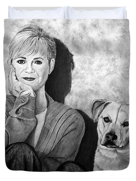 Bonnie Hunt And Charlie Duvet Cover by Peter Piatt