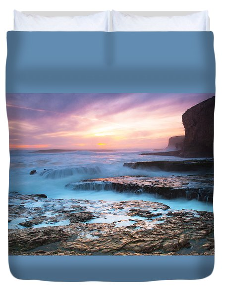 Duvet Cover featuring the photograph Bonny Doon Beach by Catherine Lau