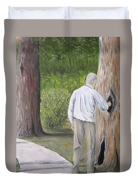 Duvet Cover featuring the painting Boo by Kevin Daly