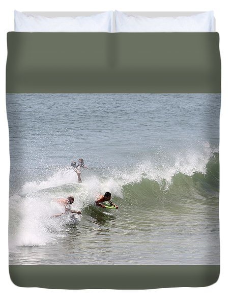 Duvet Cover featuring the photograph Boogie Boarding Fun by Robert Banach