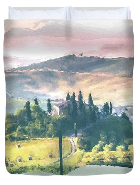 Duvet Cover featuring the painting Book Life by Harry Warrick