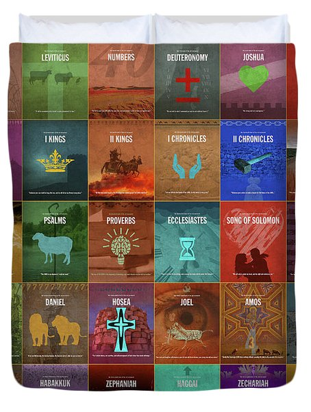 Books Of The Old Testament Graphic Design Minimal Poster Series Complete Duvet Cover