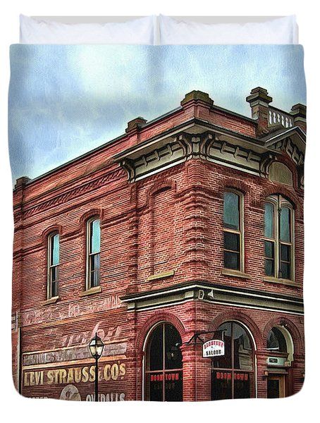 Duvet Cover featuring the photograph Boomtown Saloon Jacksonville Oregon Usa by Thom Zehrfeld