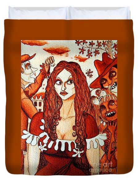 Duvet Cover featuring the painting Boor People And Girl by Don Pedro De Gracia