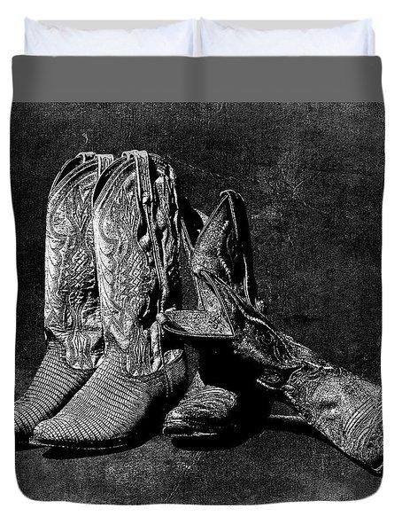Boot Friends - Art Bw Duvet Cover