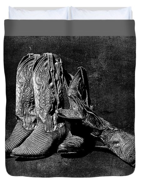 Boot Friends - Art Bw Duvet Cover
