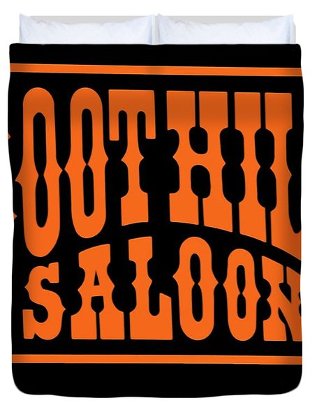 Boot Hill Saloon Sign Duvet Cover by DigiArt Diaries by Vicky B Fuller