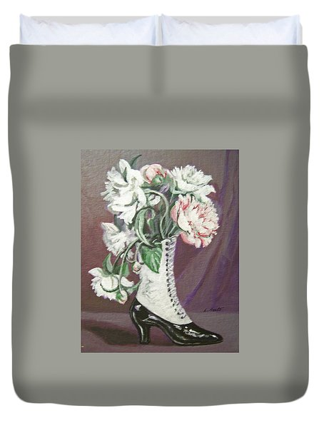 Booted Peonies Duvet Cover