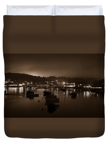 Boothbay Harbor At Night Duvet Cover