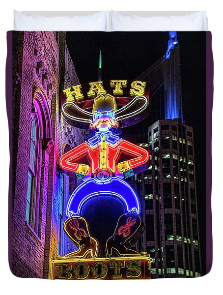 Boots And Hat Neon Sign Duvet Cover
