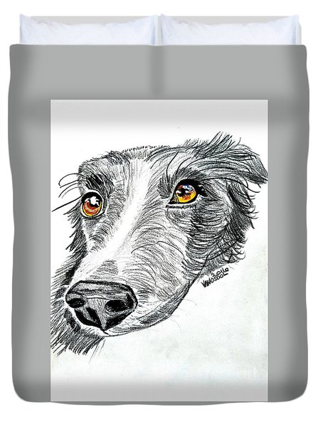 Border Collie Dog Colored Pencil Duvet Cover