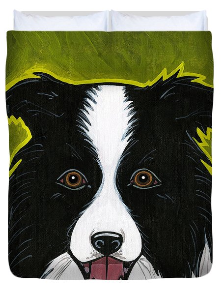 Border Collie Duvet Cover by Leanne Wilkes
