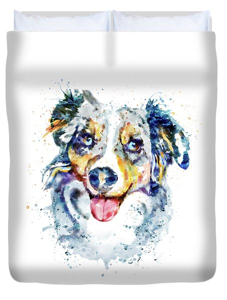 Duvet Cover featuring the mixed media Border Collie  by Marian Voicu