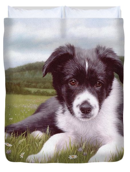 Border Collie Puppy Painting Duvet Cover