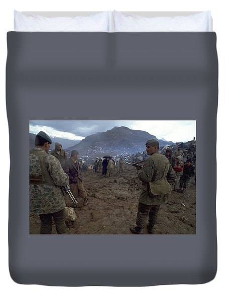 Duvet Cover featuring the photograph Border Control by Travel Pics