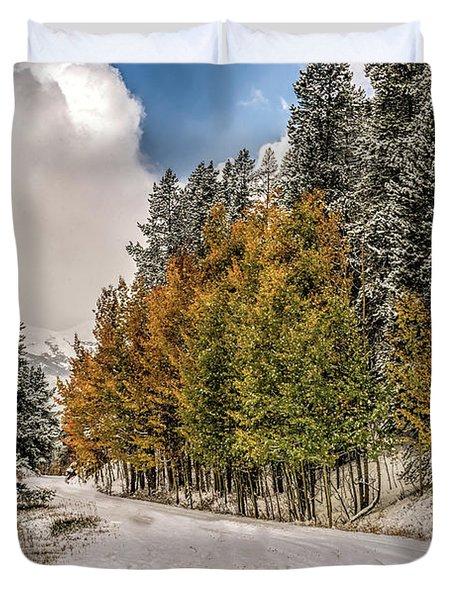 Boreas Pass Road Aspen And Snow Duvet Cover