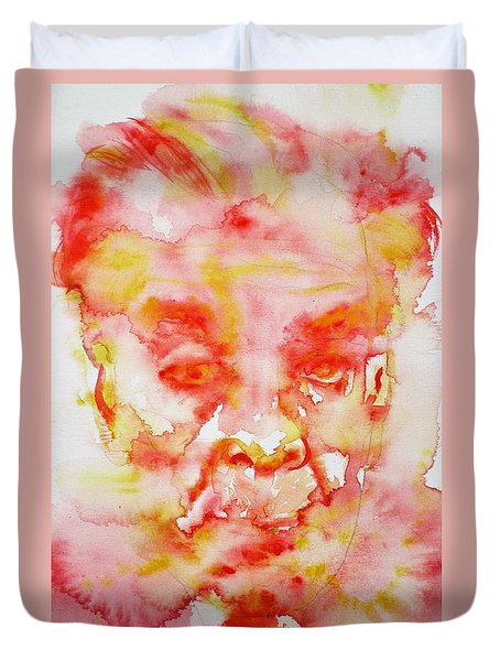 Borges - Watercolor Portrait.3 Duvet Cover by Fabrizio Cassetta