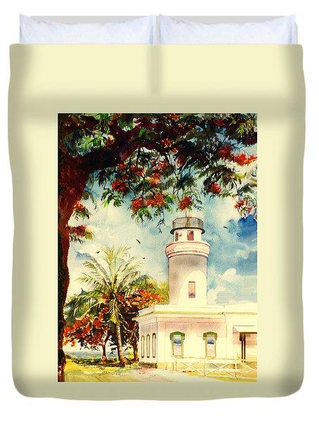 Borinquen Lighthouse Aguadilla Puerto Rico Duvet Cover by Estela Robles