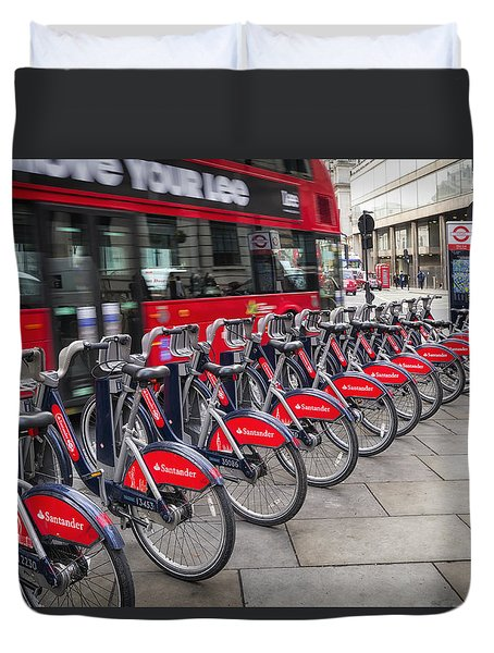 Boris Bikes And Buses Duvet Cover by Shirley Mitchell