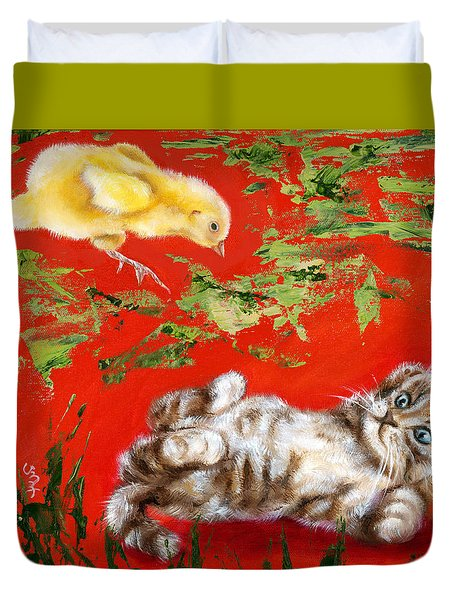 Duvet Cover featuring the painting Born To Be Wild by Hiroko Sakai