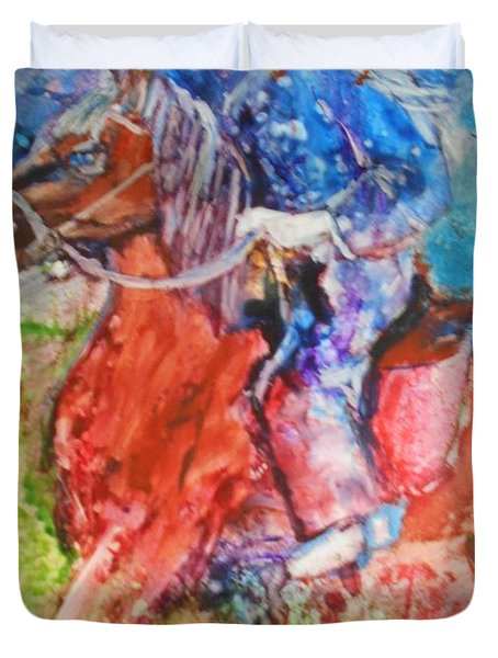 Duvet Cover featuring the painting Born To Ride by Deborah Nell
