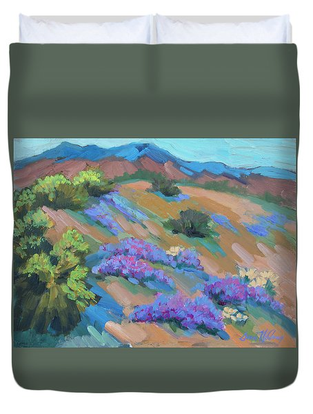 Duvet Cover featuring the painting Borrego Springs Verbena by Diane McClary