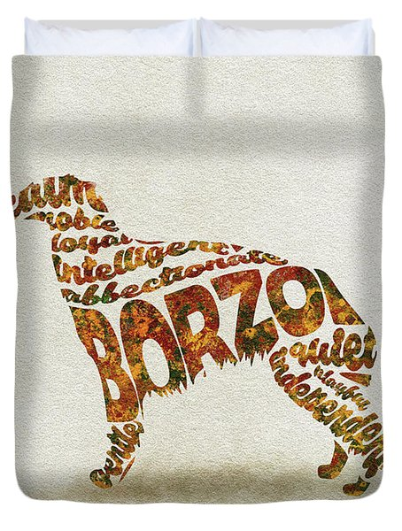 Duvet Cover featuring the painting Borzoi Dog Watercolor Painting / Typographic Art by Inspirowl Design