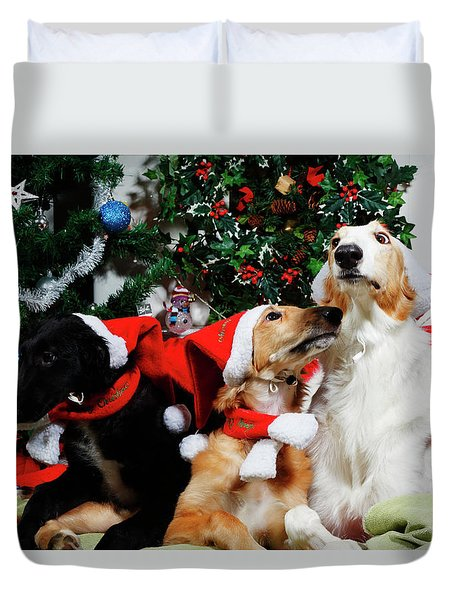 Borzoi Hounds Dressed As Father Christmas Duvet Cover by Christian Lagereek