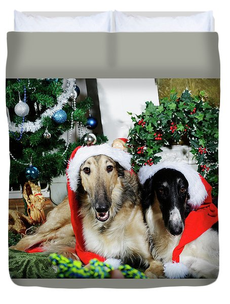 Borzoi Puppies Wishing A Merry Christmas Duvet Cover by Christian Lagereek