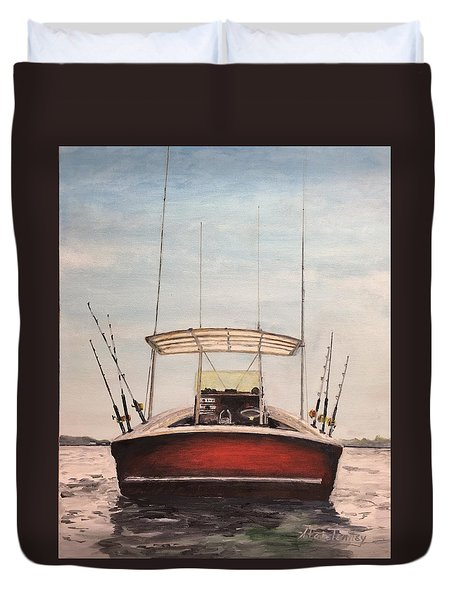 Duvet Cover featuring the painting Helen's Boat by Stan Tenney