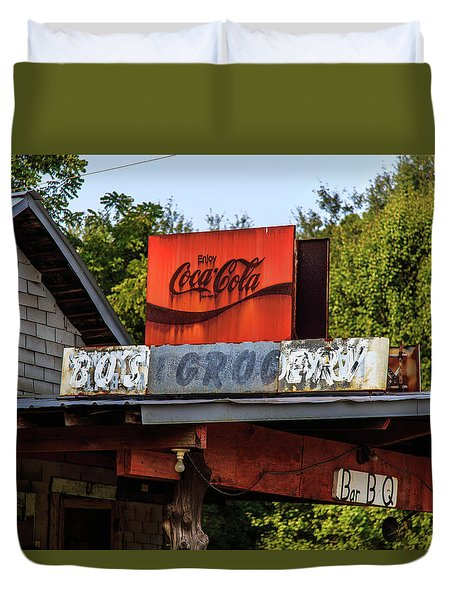Duvet Cover featuring the photograph Bo's Grocery by Doug Camara