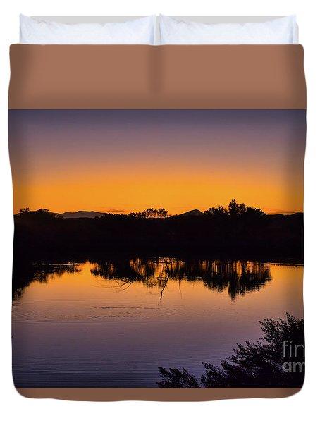 Bosque Del Apache Sunset Duvet Cover