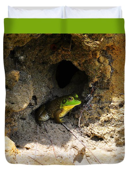 Duvet Cover featuring the photograph Boss Frog by Al Powell Photography USA