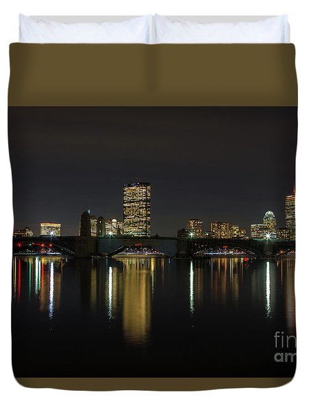 Boston Skyscrappers Behind Bridge Duvet Cover