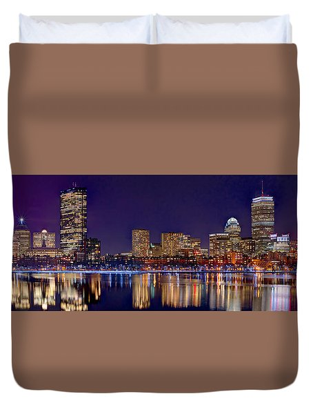 Duvet Cover featuring the photograph Boston Back Bay Skyline At Night 2017 Color Panorama 1 To 3 Ratio by Jon Holiday