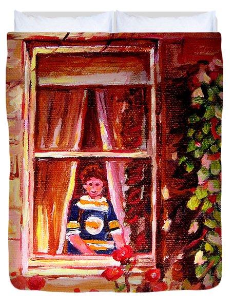 Boston Bruin Fan Duvet Cover by Carole Spandau