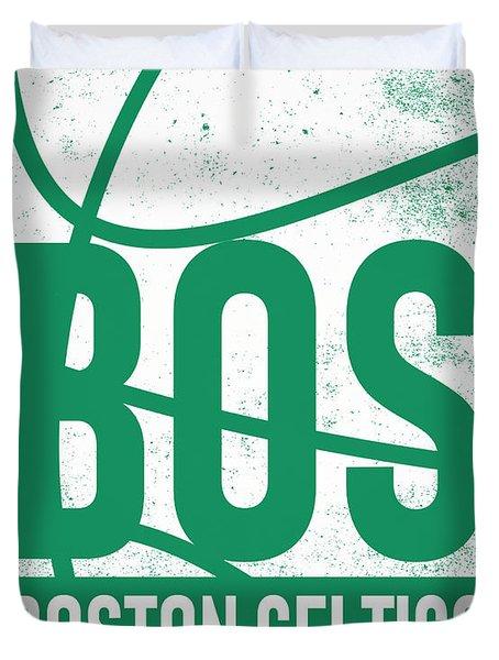 Boston Celtics City Poster Art Duvet Cover