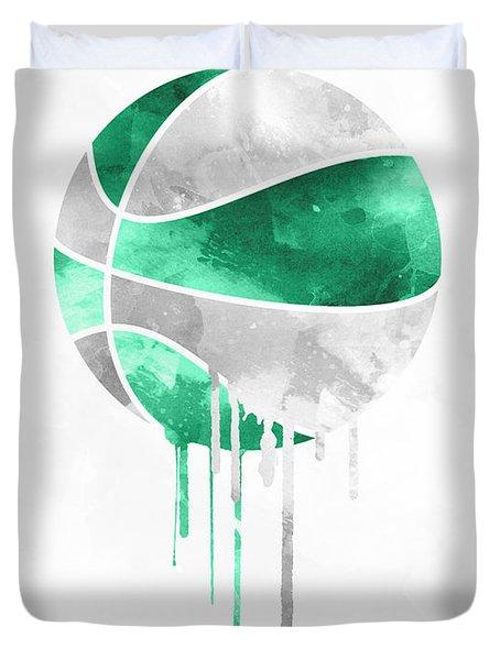 Boston Celtics Dripping Water Colors Pixel Art Duvet Cover