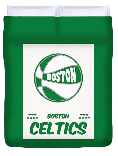 Boston Celtics Vintage Basketball Art Duvet Cover