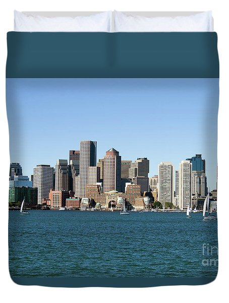 Boston City Skyline Duvet Cover