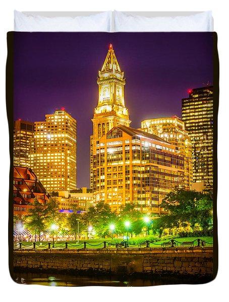 Boston Cityscape At Night Duvet Cover