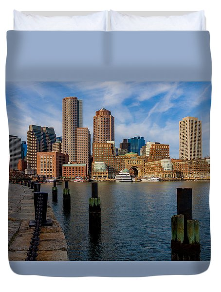 Boston Cityscape From The Seaport District Duvet Cover